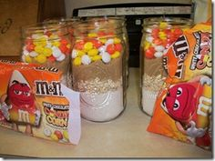 Halloween Craft Idea with M's Candy Corn White Chocolate and cookies in a Jar