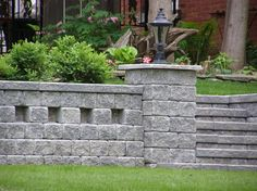 Retaining Wall And Lighting Backyard Landscaping