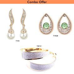 Trendymela Offers Beora Combo of #Gold Plated #Crystal #Stylish #Earrings.Shop This At Rs.549 & Get Free Surprise Gift with every Purchase.  For more details visit us at #Trendymela.com