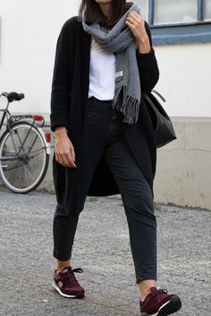 Acne scarf and all black outfit