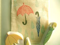 umbrella and rain  hand carved rubber stamp set  by talktothesun, $15.00