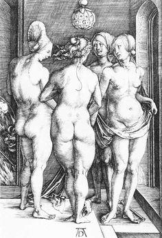 Four Naked Women: 1497 by Albrecht Dürer - engraving (Cleveland Museum of Art, Cleveland, Ohio) Viewed as part of the Exhibition: Dürer's Women: Images of Devotion & Desire (August, Albrecht Durer, Hans Baldung Grien, Comic Style, Photo Mug, Fine Art Prints, Canvas Prints, Canvas Art, Art Asiatique, Desenho Tattoo