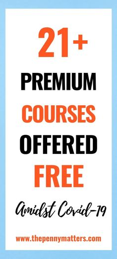 21 Premium courses being offered for free amidst Looking for free courses online to make money online and start working from home? Then enroll… Make Money Blogging, Way To Make Money, Make Money Online, Earn Money, Blogging Ideas, Best Online Courses, Free Courses, Get Twitter Followers, Drop Shipping Business