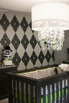Argyle accent wall - such a preppy look in a baby boy nursery!