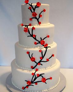 I like the cherry blossom and Japanese feel to this cake, I think more vines would look great.