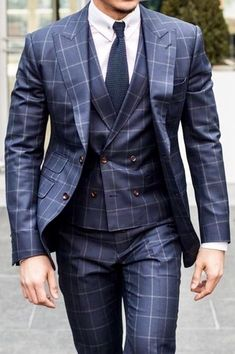 Learn to live in Style. Mens Casual Suits, Stylish Suit, Formal Suits, Mens Fashion Suits, Mens Suits, Windowpane Suit, Plaid Suit, Three Piece Suit For Man, Custom Made Suits