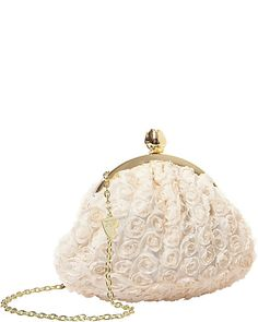 BETSEYS ROSEBUD CLUTCH IVORY accessories handbags day evening clutch