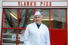We love Clark's Pies. RIP Dennis Dutch who has died aged 84 Pie Shop, Cymru, Cardiff, Clarks, Wales, Dutch, Chef Jackets, Celebrities, Coat