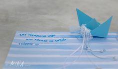 Βάπτιση στην Αίγινα Origami Boat, Place Cards, Place Card Holders, Blog, Blogging