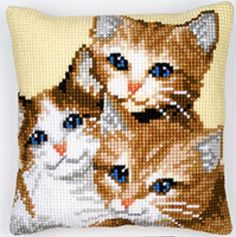 Shop online for 3 Kitties Cushion Front Chunky Cross Stitch Kit at… Cute Cross Stitch, Cross Stitch Charts, Cross Stitch Designs, Cross Stitch Patterns, Cat Cross Stitches, Cross Stitch Embroidery, Cross Stitch Cushion, Cat Cushion, Crochet Cushions