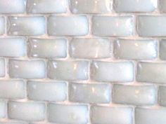 milk glass tile  I like the different height on these tiles, makes it look like a basketweave.