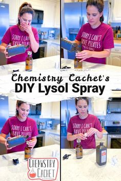 Need a homemade disinfectant that actually works? Try Chemistry Cachet's DIY Lysol cleaner. This spray mimics the Lysol brand hydrogen peroxide cleaner. It is safe for your home, kids, and pets. It works fantastically, and it is cheap too! This cleans and disinfects surfaces, killing germs like viruses and bacteria. Baking Soda Cleaning, Cleaning Day, Cleaning Recipes, House Cleaning Tips, Cleaning Hacks, Organizing Tips, Cleaning With Hydrogen Peroxide, Essential Oils Cleaning, Housekeeping Tips