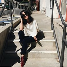 @lyssmoore being all dreamy on the stairs in her #JamesJeans; she's a babe // #myjamesjeans