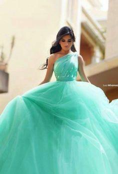 Com : buy turquoise ball gowns prom dress one shoulder vestidos longo beading crystal tulle prom Pretty Quinceanera Dresses, Prom Dresses 2017, 15 Dresses, Blue Dresses, Fashion Dresses, Turquoise Quinceanera Dresses, Quinceanera Party, Vestidos Color Menta, Marine Uniform