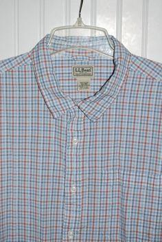 LL Bean Men's XXL Short Sleeve Plaid Button Front Seersucker Cotton Camp Shirt  #LLBean #ButtonFront