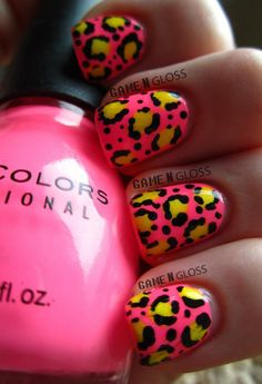 Cute nails for summer #neon #leopardprint #pink - IG gamengloss FB GAME N GLOSS
