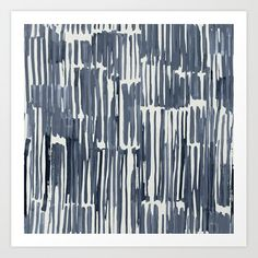 Simply Bamboo Brushstroke Indigo Blue on Lunar Gray Art Print by Simple Luxe - X-Small Grey Art, Gray, Blue Art, Artwork Prints, Fine Art Prints, Affordable Art, Indigo Blue, Wabi Sabi, Brush Strokes