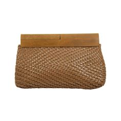 1stdibs   Vintage DeVecchi Woven Leather Clutch with Wood Frame