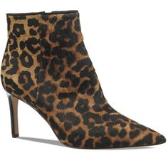 Sam Edelman Karen Leopard Print Calf Hair Pointed Toe Booties ($175) ❤ liked on Polyvore