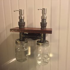 Double Industrial Steampunk Liquid Soap Dispenser with Mason Jar with wooden shelf and cast iron pipe by EdandSonsLights on Etsy https://www.etsy.com/listing/247861898/double-industrial-steampunk-liquid-soap