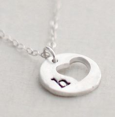 Heart Initial Necklace Cut out Heart Sterling by VivaRevival