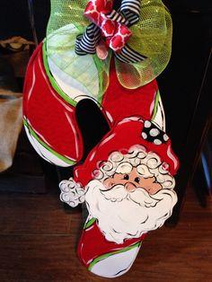Santa candy cane door hanger