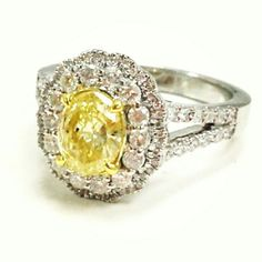 Just In From Factory...A Gorgeous and Beautiful 1.50cttw Engagement Ring. Center Diamond An 0.84ct Fancy Canary Yellow Diamond,  Mounted On 14kwg with over 0.65ct of collection color diamonds. Available Now @nourielydiamond #gorgeous #beautiful #beauty #fancy #canary #YELLOW #yellowdiamond #oval #ring #wedding #ido #love #proposal #thebachelor #thebachelorette #gold #rihanna #diamonds #diamante #gioiello #anello #oro #fashion #fashionista #BLOGGERS #blog #cosmopolitan #allure #elle…