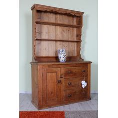 SOLID PINE 4 FT VICTORIAN DRESSER DRAWERS & CUPBOARD VERY RUSTIC - £299