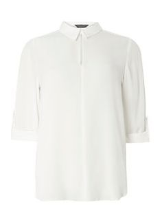 Ivory Keyhole Collar Shirt