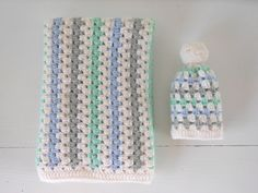 Twolittlebirds - granny stripe baby hat and blanket
