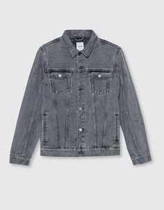 Pull&Bear - homem - vestuário - blusões e blazers - blusão de ganga - cinza antracite - 09710548-I2016