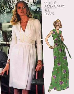 Vintage Front Draped Wrap Dress or Evening Dress VOGUE Americana 1015 Designer Bill Blass 70s Sewing Pattern Size 14 B36 Uncut + Label by sandritocat on Etsy