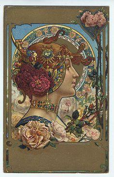 An art nouveau postcard by Alphonse Mucha Art Nouveau Mucha, Alphonse Mucha Art, Art Nouveau Poster, Design Art Nouveau, Illustration Art Nouveau, Illustrator, Love Art, Oeuvre D'art, Vintage Art