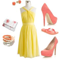 """""""How do I convice my bridesmaids to wear coral shoes with thier yellow dress?"""" by alison-ann on Polyvore"""