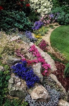 Amazing Rock Garden Design Ideas Check out these fantastic rock garden designs and ideas.Check out these fantastic rock garden designs and ideas. Rockery Garden, Rock Garden Plants, Xeriscaping, Landscaping Supplies, Yard Landscaping, Landscaping Ideas, Back Gardens, Small Gardens, Alpine Garden