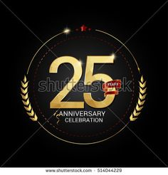 25 years golden anniversary logo with red ribbon, low poly design number, isolated on black background