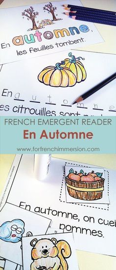 "French Autumn Emergent Reader: En Automne. Kids will be working with the focus sight word by writing, cutting and pasting, tracing, reading, and more! Includes many size options and a ""big classroom book"" in color and B&W. Fun and effective printable for the French Immersion classroom! Pour l'automne :)"
