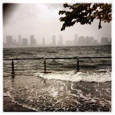 Waves begin crashing over Chelsea Piers in Manhattan