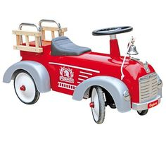 This ride on Speedster Ride On Fireman truck by Baghera is just what every young fire fighter dreams! It is built to last with a padded seat, sturdy metal body and rubber tyres Baby Mobile, Shops, Car Goals, Ride On Toys, Pedal Cars, Emergency Vehicles, Rubber Tires, Cool Bicycles, Fire Engine