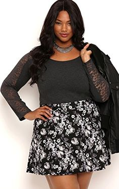 Fashion Bug Plus Size Quilted Skater Skirt with Floral Print www.fashionbug.us #PlusSize #Skirts