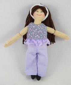 Dress Up Doll with Brown Hair  Handmade Toy by JoellesDolls