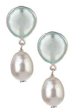 Aquamarine and freshwater pearl earrings in sterling silver