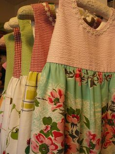 Little girl dresses made from vintage table clothes. Great way to use all of the ones I have with holes and stains.