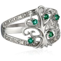 Sterling Silver Tree of Life Diamond Ring (€39) ❤ liked on Polyvore featuring jewelry, rings, diamond rings, diamond jewelry, diamond jewellery, sterling silver diamond jewelry and sterling silver rings