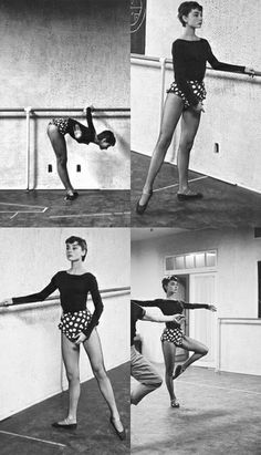 Audrey Hepburn in dance class. Audrey Hepburn began ballet lessons at age five and continued with dance throughout her life. Ballet Class, Dance Class, Ballet Dancers, Dance Photography, Brigitte Bardot, Just Dance, Barre, Classic Hollywood, Hollywood Stars