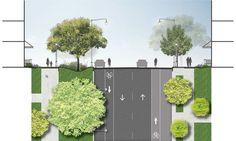 Proposed street cross-section Revit Architecture, Concept Architecture, Architecture Drawings, Landscape Architecture, Urban Design Diagram, Landscape Design Plans, Architectural Section, Street Furniture, Urban Planning