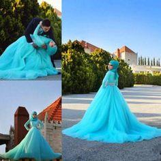 Discount Muslim Wedding Dresses 2015 Hijab Wedding Dresses Arabic Blue Tulle Lace Crystal Bridal Gowns A Line Sweep Train Long Sleeve Muslim Wedding Dresses Custom Made
