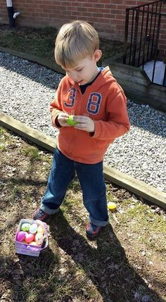 Riley Friday a year ago -- he's hunting Easter Eggs!