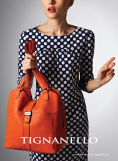 August Advertising.  How cute! Papaya orange and polka dots! This is the On My tab Shopper.