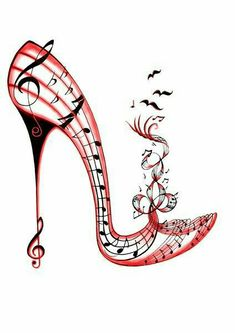 Hot Boogy Giclee Print by Sally King Design by SallyKingDesign Shoe Sketches, Fashion Sketches, Music Drawings, Art Drawings, Illustration Mode, Illustrations, King Design, Creative Shoes, Music Tattoos